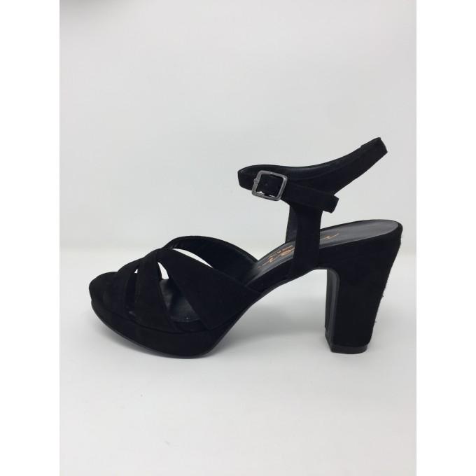 Sandalo camoscio elegante tacco 9 plateau