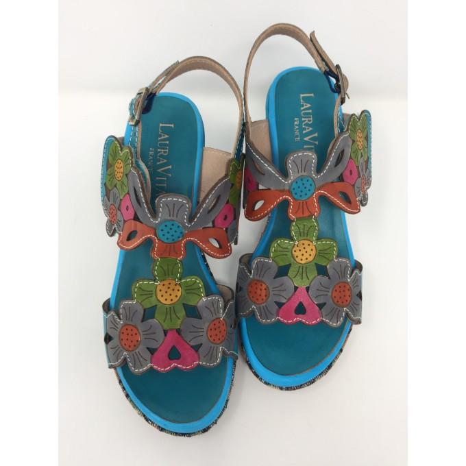 Laura vita sandalo fiori multicolor tacco 8