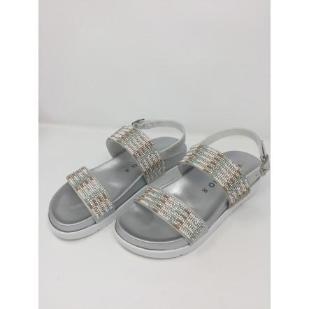 VeganBio sandalo vegan argento con strass