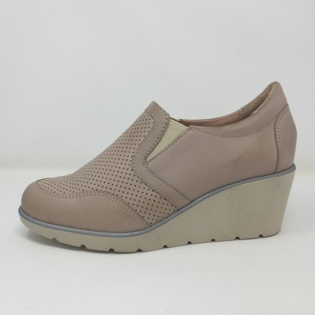 Easy'n rose scarpa accollata in pelle zeppa cm 6