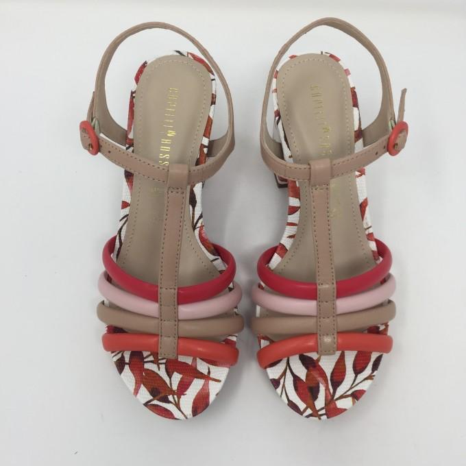 Capelli rossi sandalo pelle con listini colorati e tacco multi 8 disponibile in 3 colori