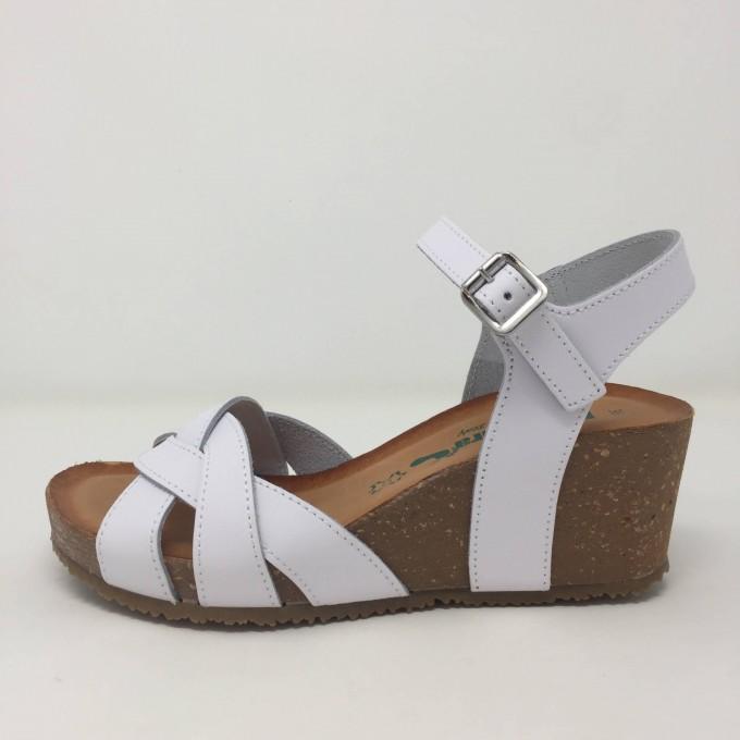 Bionatura sandalo pelle zeppa 6 cm comodissimo