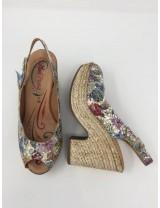 Sandalo tacco pelle