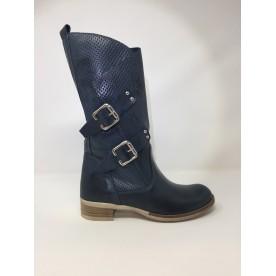 Deky Shoes stivale moda pelle, doppia fibbia, tacco comodo disponibile in 2 colori