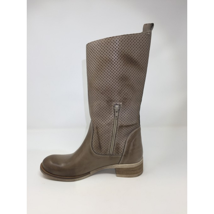 Deky Shoes stivale moda pelle, doppia fibbia, tacco comodo