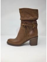 Deky Shoes stivaletto pelle, tacco 7 cm, tomaia arricciata disponibile in 2 colori