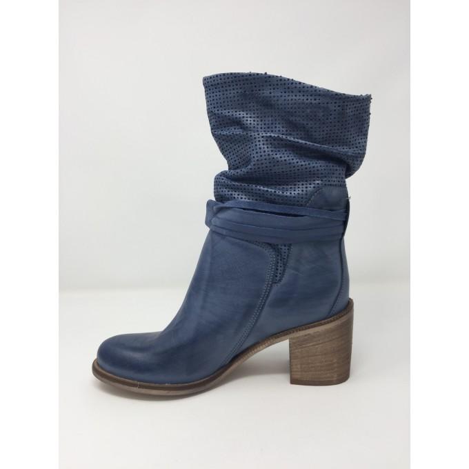 Deky Shoes stivaletto pelle, tacco 7 cm, tomaia arricciata