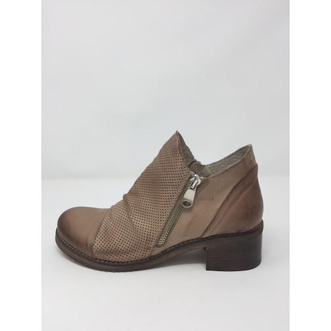 Deky Shoes scarpa moda, doppia zip, tacco comodo